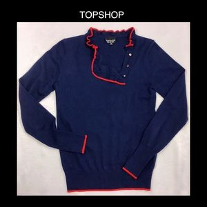 TOPSHOP Blue & Red Size 4 Sweater